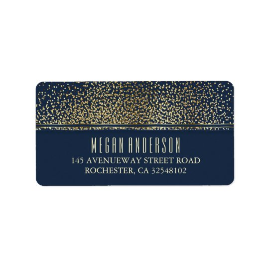 Gold Glitter Vintage Navy Wedding Label