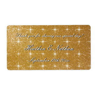 Gold glitter wedding wine or water bottle labels
