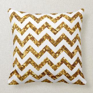 "Gold Glitter White Chevron Modern Throw Pillow 20"" Cushion"
