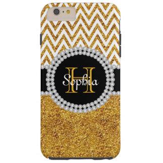 Gold Glitter White Chevron T iPhone 6 Plus Case