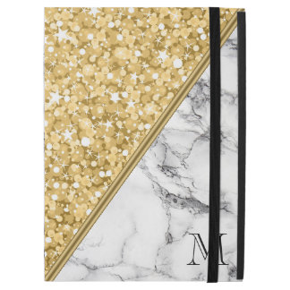 "Gold Glitter White Sparks Black White Marble iPad Pro 12.9"" Case"