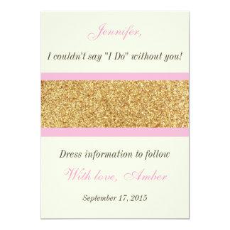 Gold Glitter Will you be my bridesmaid Invitation