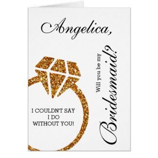 Gold Glitter Will You Be My Bridesmaid Invitation Greeting Card