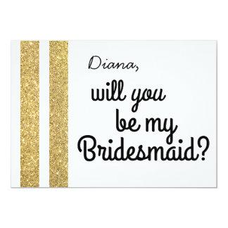 Gold Glitter Will You Be My Bridesmaid Invite