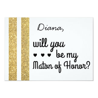 Gold Glitter Will You Be My Bridesmaid Invite