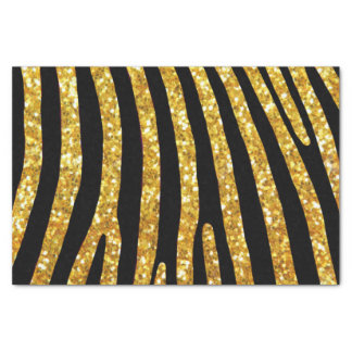 Gold Glitter Zebra Stripe Tissue Paper