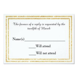 Gold Glittered Trim - RSVP Card 9 Cm X 13 Cm Invitation Card