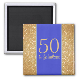 Gold Glittery and Blue 50 & Fabulous 50th Birthday Magnet
