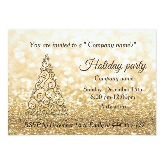 Gold glittery Christmas tree company holiday party Card