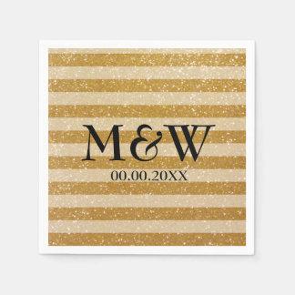 Gold glittery striped monogram wedding napkins paper napkins