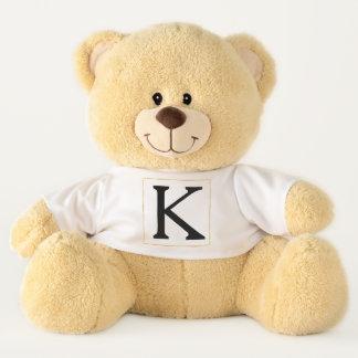 Gold Glitz Square Black Monogram Teddy Bear