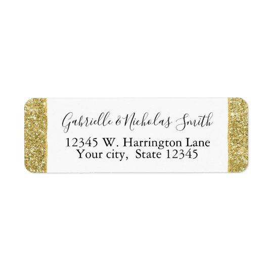 Gold Glitzy Faux Glitter Return Address Label