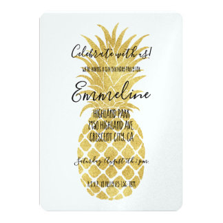Gold Glitzy Pineapples Birthday Card