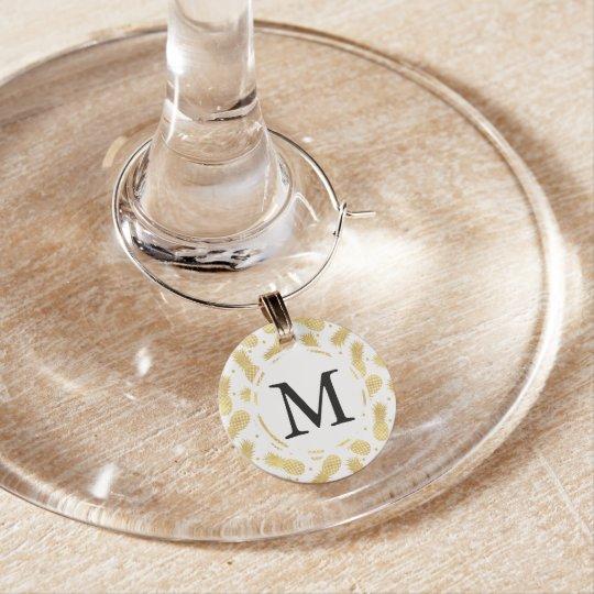 Gold Glitzy Pineapples Monogram Wine Charm