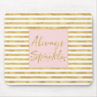 Gold Glitzy Stripes Sparkle Mouse Pad