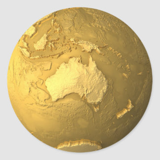 Gold Globe - Metal Earth, Australia, 3d Render Classic Round Sticker