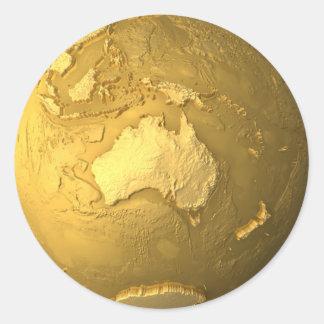 Gold Globe - Metal Earth, Australia, 3d Render Round Sticker