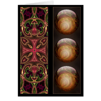Gold Glowing Spheres and Tapestry Bookmark Card