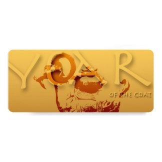 Gold Goat Chinese New Year Zodiac Invitation