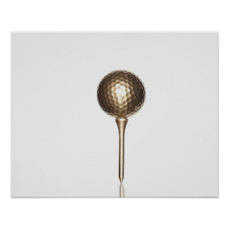 Gold golf ball and tee print
