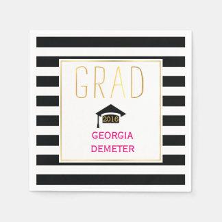 Gold grad black, white stripes hot pink graduation paper napkin