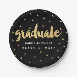 Gold Grad Faux Foil Graduation Party Plates
