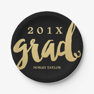Gold Grad | Graduation Party Plates | Lg Text