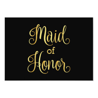 Gold gradient black for maid of honor card