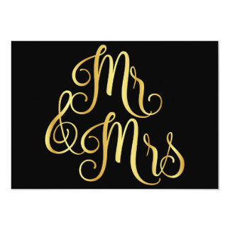 Gold gradient black for mr and mrs card