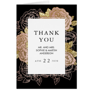 Gold Gradient & Glitter Rose Gold Floral Thank You Card