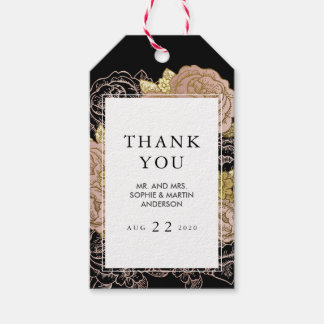 Gold Gradient & Glitter Rose Gold Floral Thank You Gift Tags