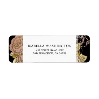 Gold Gradient & Glitter | Rose Gold Floral Wedding Return Address Label