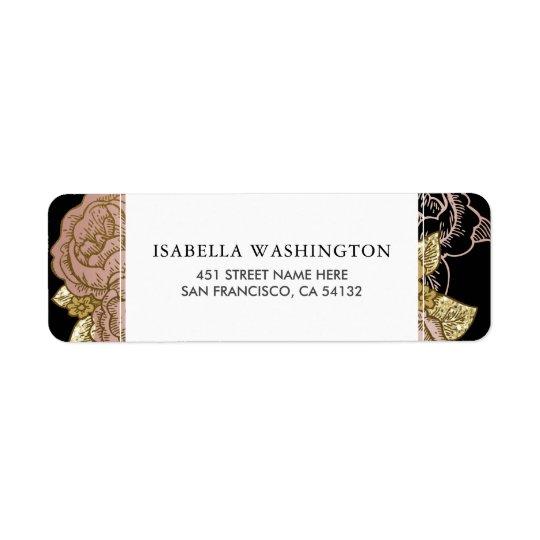 Gold Gradient & Glitter | Rose Gold Floral Wedding Return Address Label