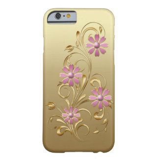 Gold Gradient Pink Flowers Gold Swirls iPhone 6 ca Barely There iPhone 6 Case