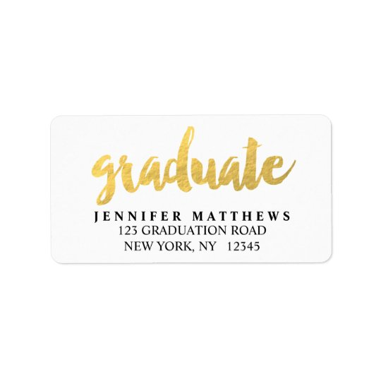 Gold Graduate | Graduation Address Label