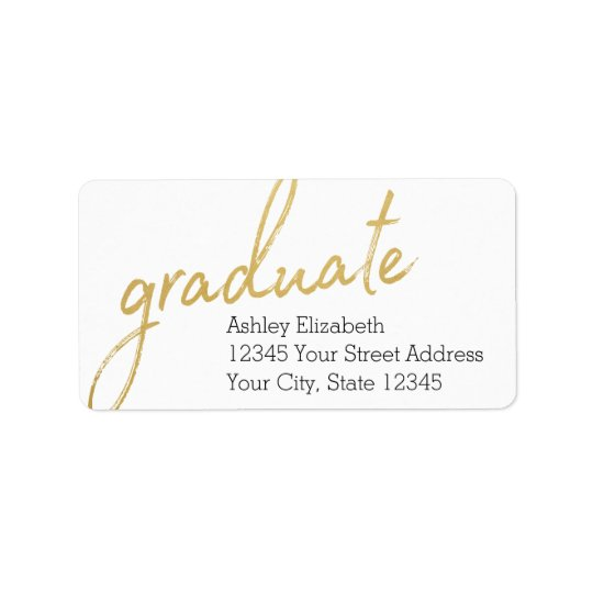 Gold Graduate Modern Graduation Return Address Address Label