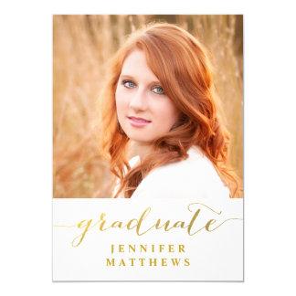 Gold Graduate Photo Graduation Party Invitation