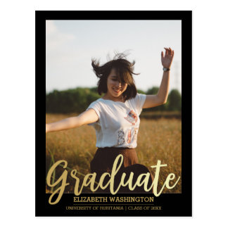 Gold Graduate Typography | Photo Graduation Postcard
