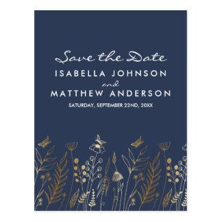 Gold Grasses Butterflies & Navy Save the Date Postcard