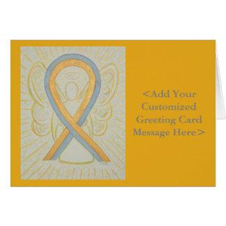Gold & Gray Awareness Ribbon Angel Note Cards