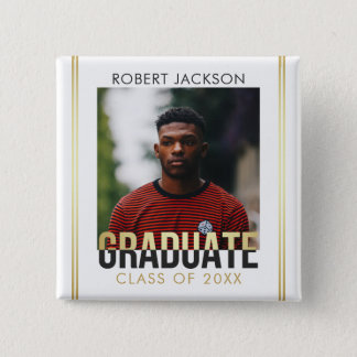 Gold & Gray Graduate Typography | Photo Graduation 15 Cm Square Badge