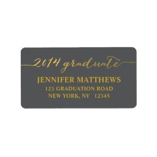 Gold Gray Graduation Address Label