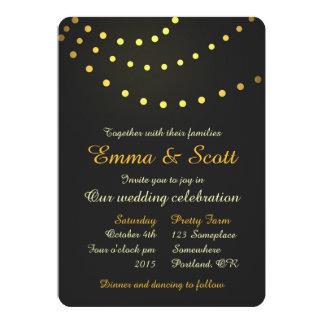 "Gold gray shiny lights fancy wedding invitation 5"" x 7"" invitation card"