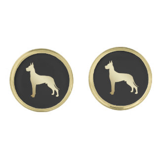 Gold Great Dane on Black Gold Finish Cuff Links