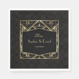 Gold Great Gatsby Art Deco Style Wedding Disposable Serviette