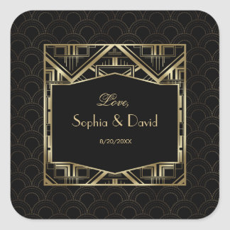 Gold Great Gatsby Art Deco Style Wedding Square Sticker