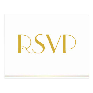 Gold Great Gatsby Wedding RSVP Postcards