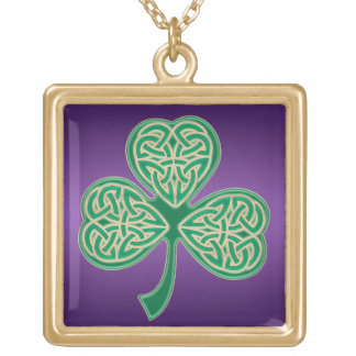 Gold Green Celtic Clover Knot on Purple Necklace