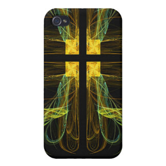 Gold & Green Cross Fractal 4  Covers For iPhone 4
