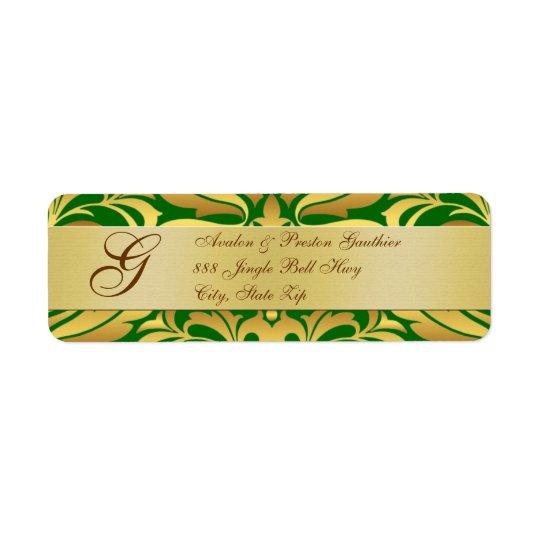 Gold & Green Damask Christmas Address Labels